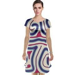 Blue and red lines Cap Sleeve Nightdress