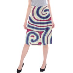 Blue and red lines Midi Beach Skirt
