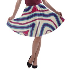Blue and red lines A-line Skater Skirt