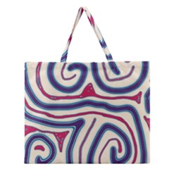 Blue and red lines Zipper Large Tote Bag