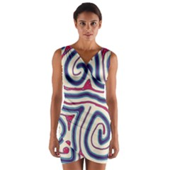 Blue and red lines Wrap Front Bodycon Dress