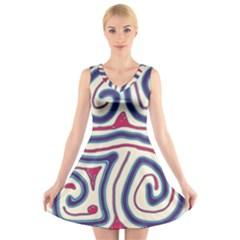 Blue and red lines V-Neck Sleeveless Skater Dress