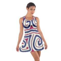 Blue and red lines Cotton Racerback Dress