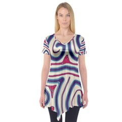 Blue and red lines Short Sleeve Tunic