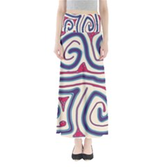 Blue And Red Lines Maxi Skirts