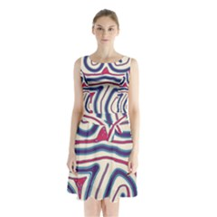 Blue and red lines Sleeveless Waist Tie Dress
