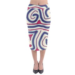Blue And Red Lines Midi Pencil Skirt