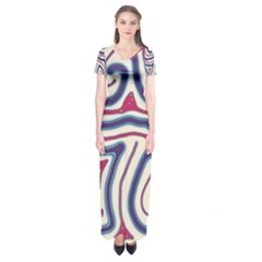 Blue And Red Lines Short Sleeve Maxi Dress
