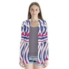 Blue and red lines Drape Collar Cardigan