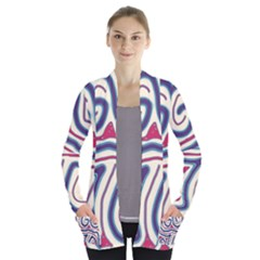 Blue and red lines Women s Open Front Pockets Cardigan(P194)