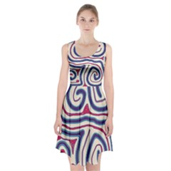 Blue and red lines Racerback Midi Dress