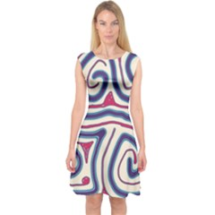 Blue And Red Lines Capsleeve Midi Dress