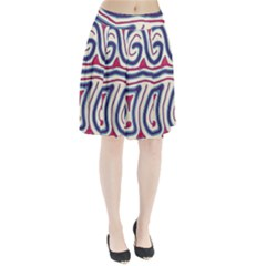 Blue And Red Lines Pleated Skirt
