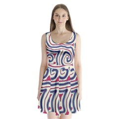 Blue and red lines Split Back Mini Dress