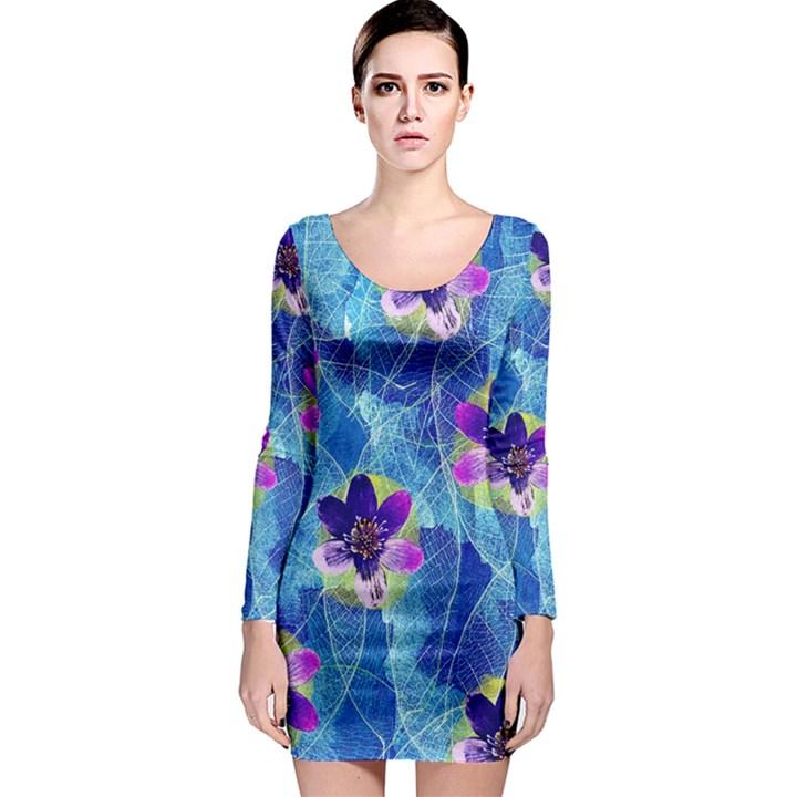 Purple Flowers Long Sleeve Bodycon Dress