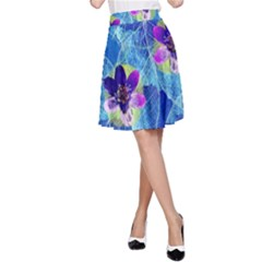 Purple Flowers A Line Skirt