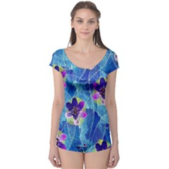 Purple Flowers Boyleg Leotard