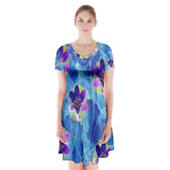 Purple Flowers Short Sleeve V-neck Flare Dress