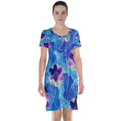 Purple Flowers Short Sleeve Nightdress