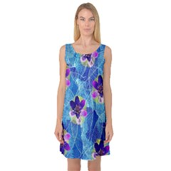 Purple Flowers Sleeveless Satin Nightdress