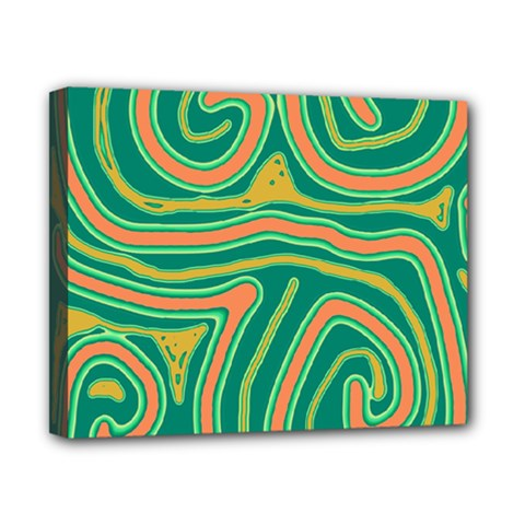 Green and orange lines Canvas 10  x 8