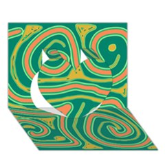 Green and orange lines Heart 3D Greeting Card (7x5)
