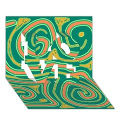 Green and orange lines LOVE 3D Greeting Card (7x5)