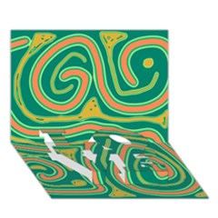 Green and orange lines LOVE Bottom 3D Greeting Card (7x5)