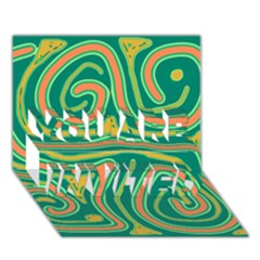 Green and orange lines YOU ARE INVITED 3D Greeting Card (7x5)