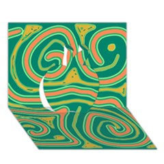 Green and orange lines Apple 3D Greeting Card (7x5)