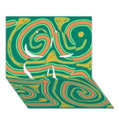 Green and orange lines Clover 3D Greeting Card (7x5)