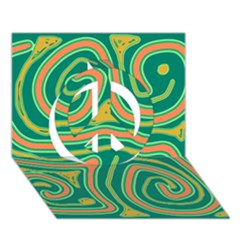 Green and orange lines Peace Sign 3D Greeting Card (7x5)
