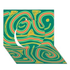 Green and orange lines Circle 3D Greeting Card (7x5)