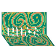 Green and orange lines HUGS 3D Greeting Card (8x4)