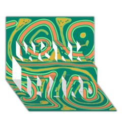 Green and orange lines WORK HARD 3D Greeting Card (7x5)