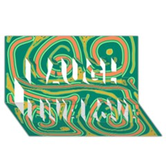 Green and orange lines Laugh Live Love 3D Greeting Card (8x4)