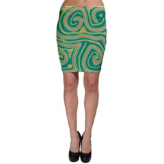 Green and orange lines Bodycon Skirt