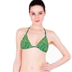 Green and orange lines Bikini Top