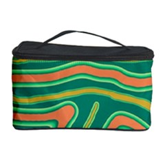 Green and orange lines Cosmetic Storage Case