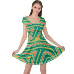 Green and orange lines Cap Sleeve Dresses