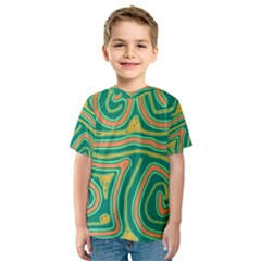 Green and orange lines Kid s Sport Mesh Tee
