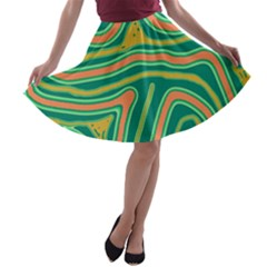 Green And Orange Lines A Line Skater Skirt