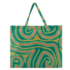 Green and orange lines Zipper Large Tote Bag