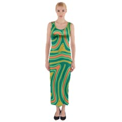 Green and orange lines Fitted Maxi Dress