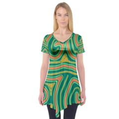Green And Orange Lines Short Sleeve Tunic
