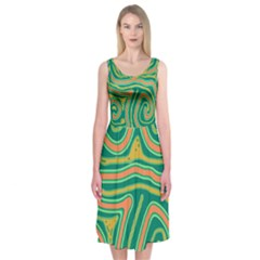 Green and orange lines Midi Sleeveless Dress