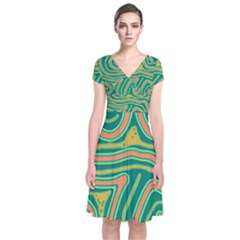 Green And Orange Lines Short Sleeve Front Wrap Dress