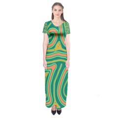 Green And Orange Lines Short Sleeve Maxi Dress