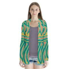 Green And Orange Lines Drape Collar Cardigan