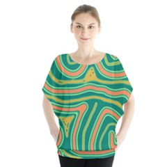 Green And Orange Lines Blouse